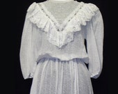 Vintage Dress, White, Embossed Cotton Voile, Lace and Ruffles, 1970's, small, FREE US SHIPPING