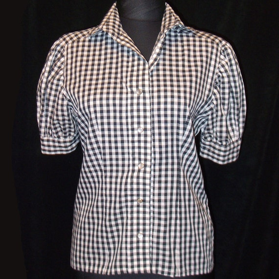 Womens Black And White Checked Blouse 41