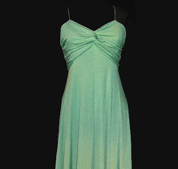 Vintage Prom Dress, Bridesmaid Dress, Green, Spaghetti Straps, medium, FREE US SHIPPING