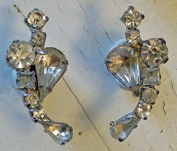 Vintage Earrings, Rhinestone, Cluster, Crescent, Mad Men, Screwback, Glam, 1950's, FREE US SHIPPING