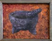 Molcajete - Acrylic on Canvas Board, Framed