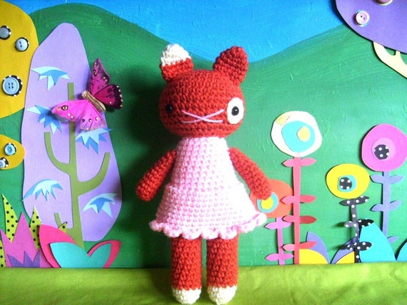 little jane ....doll kitty cat girl - ginger kitten, amigurumi plush crochet doll