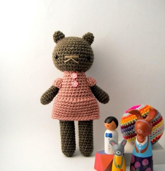 girl toy children teddy bear crochet amigurumi plushie .. little bea .. toy