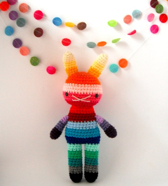 amigurumi children rabbit toy crochet doll rainbow .. big bow 4 .. toy