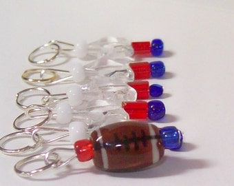 Red, White and Blue Football stitch markers