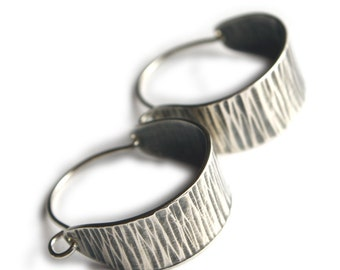 Medium Hammered Sterling Silver Oxidized Swing Hoop Earrings