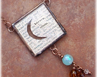 Shining Crescent Moon Altered Art Pendant Necklace