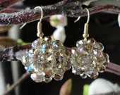 Smoky Topaz colour Crystal Ball Earrings