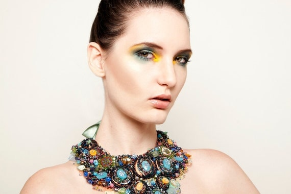 Alice's Diamonds Couture Collar Necklace, High Fashion Bib Necklace, Rhinestone Luxury Collar