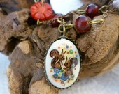 Cute Squirrel Necklace - Brass Chain Red Beads -Sweet and Saucy