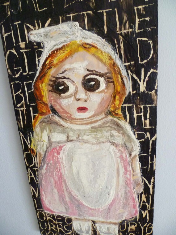 Original Encaustic Doll Painting - Punk - X-Ray Specs - Seen and Not Heard - Expressionist