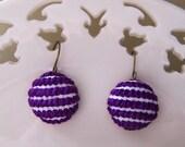 Sweet Stripes Cross Stitched Earrings in Purple