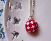 Tiny Red Checkers Necklace - Silver Plated Chain - Cross Stitched