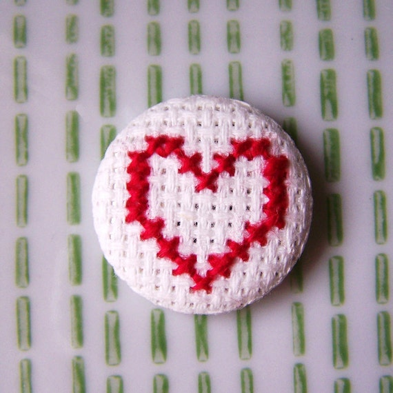 Loverly Cross Stitched Pinback Button in Cherry Red