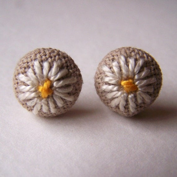 White Daisy Embroidered Earrings Surgical Steel Posts Studs Spring Brown Yellow