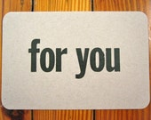 for you - letterpress postcard