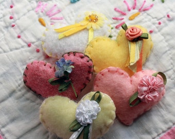 Tiny Felt Embroidered Love Tokens - Pretty Posies - Pastels - Custom Per Order - ANY color, ANY style, ANY fill!