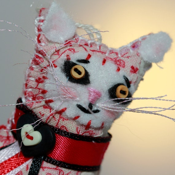 Red and Black with Hearts - Tiny Calico Pretty Kitty Cat - Quilty Critter