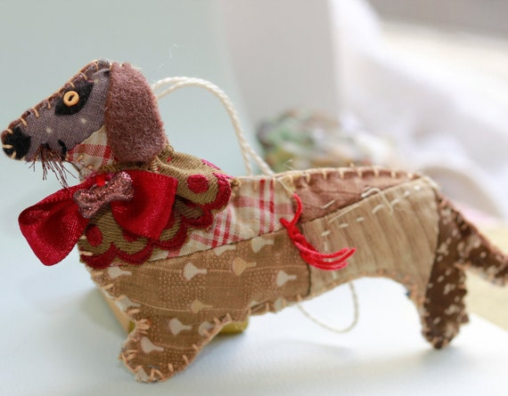 Sweet Bella - Calico Browns - Dachshund Wiener Doggy Quilty Critter