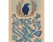bowerbird gocco print, 2nd edition