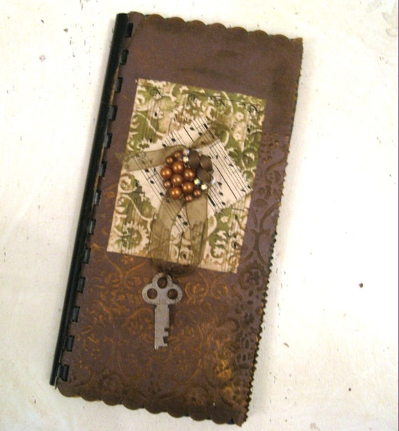 Embossed Mini Scrapbook or art journal ready for your own embellishments CSST