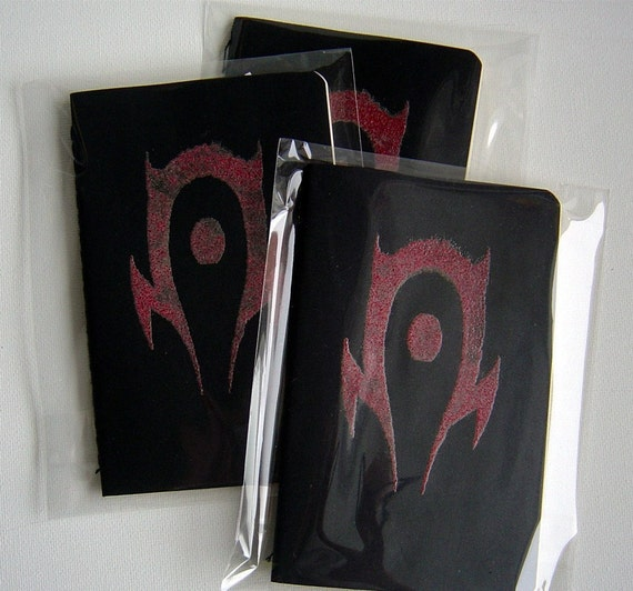 WOW - FOR THE HORDE - Black Moleskine Cahier Blank Pages - Gocco Screen printed GLOW IN THE DARK
