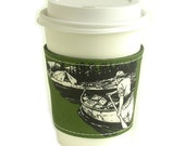 reusable cup cozy - vintage canoe/camping illustration - FREE SHIPPING