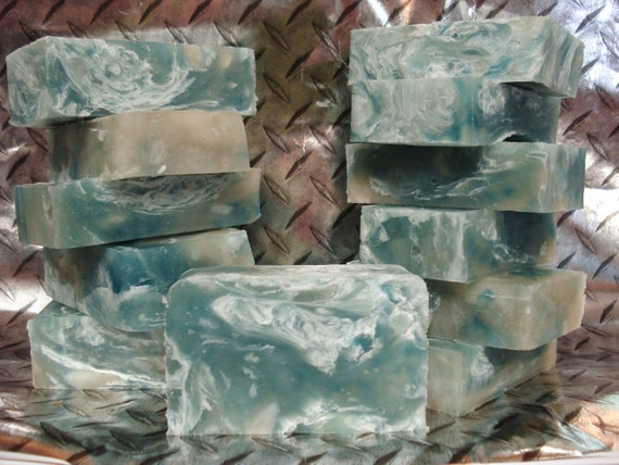 SALE 4 oz Cool Water, Coolwater, Vegan Soap, Ocean Blue and White Swirl, 3 x 2 x 1 inches