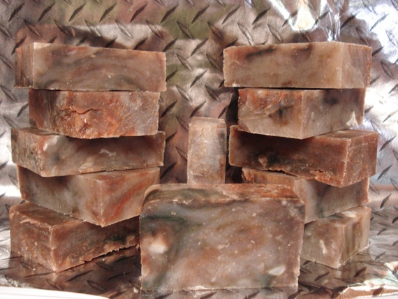 SALE 4 oz POUR HOMME, Vegan Soap, Orange, Brown, Black,  Lightly Exfoliating, Deep Cleaning, 3 x 2 x 1 inches