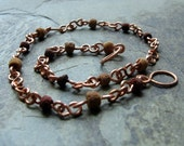 wood and copper anklet-- earth girl-- handmade by thebeadedlily on etsy