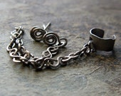 slave-- stud cuff and chain niobium earring set-- primitive series-- handmade by thebeadedlily on etsy