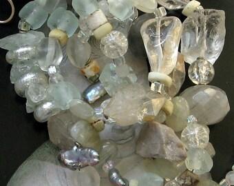 long white stone beaded necklace-- amitabha-- handmade by thebeadedlily