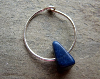catching color gemstone hoop-- single earring w/ gemstone chip-- primitive series-- handmade by thebeadedlily