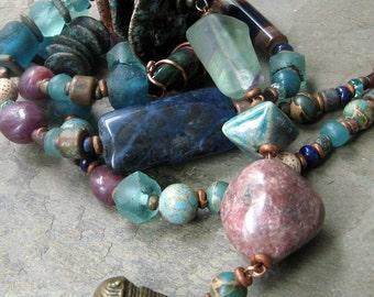 fountain, iced over-- long teal blue chunky beaded necklace-- handmade by thebeadedlily