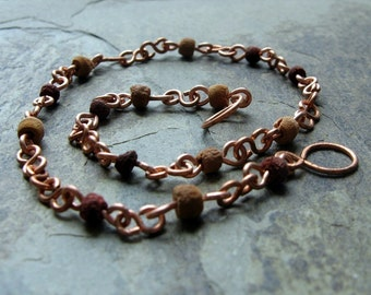earth girl anklet-- wood and copper chain bracelet or anklet-- handmade by thebeadedlily