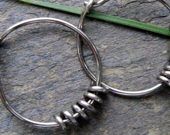 sensitive coil-- niobium hoop earrings-- primitive series