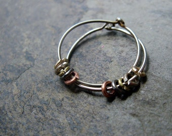 ringed hoop earrings-- primitive series-- handmade by thebeadedlily