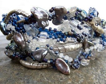 ocean of storms-- blue beadwoven cuff-- handmade by thebeadedlily