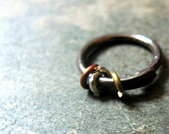 16g beringed-- cartilage hoop or nose ring-- primitive series-- handmade by thebeadedlily