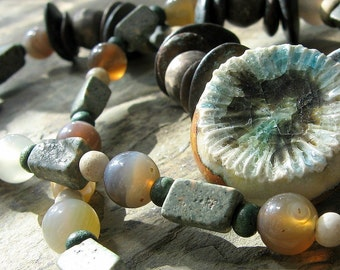 speaker for the trees-- brown and green beaded gemstone necklace-- handmade by thebeadedlily
