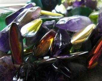 nebula-- brilliant trade bead and gemstone necklace-- handmade by thebeadedlily