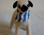 Pug with Blue Stripe Bandanna--MADE TO ORDER