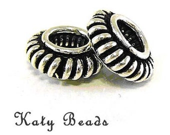 5 Bali Sterling Silver Spacer Beads Large Hole  B12