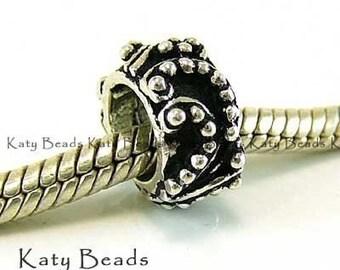 2 Bali Sterling Silver Beads Large Hole fits  Biagi Chamilia Troll Pasha B114