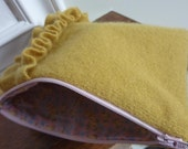 Zipper Ruffle Clutch...Recycled Cashmere Sweater in Goldenrod Yellow