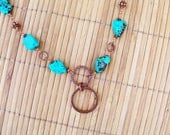 Turquoise Copper Necklace, Hammered Copper and Turquoise