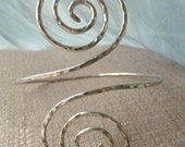 Hammered Grecian Swirl Upper Arm Cuff - Hammered Arm Band - Armlet, SILVER, GOLD or COPPER