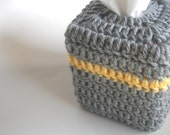tissue box cover beanie gray and yellow