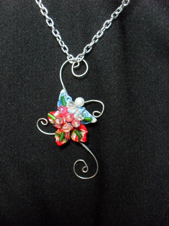 Wire wrapped polymer clay necklace jewelry