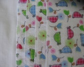 Blue and pink turtles, flannel cloths, set of 4, SECOND, REDUCED PRICE